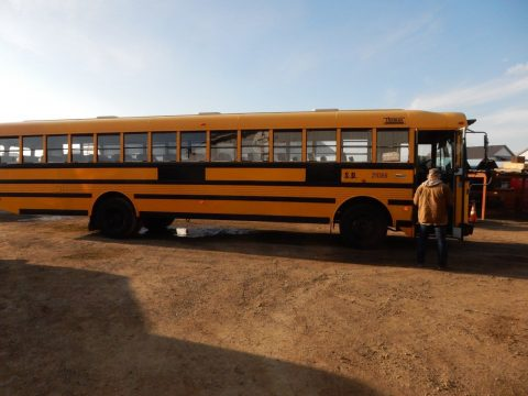 2002 Thomas Flat Nose 84 Passenger School Bus w/ Caterpillar C7 7.2L Diesel for sale